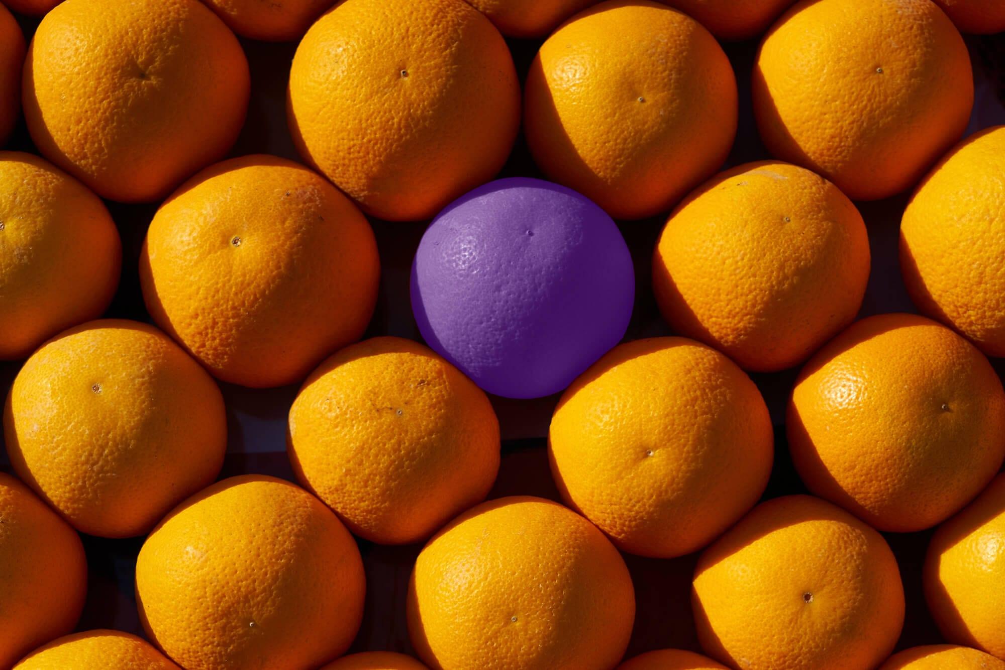 Oranges - one purple